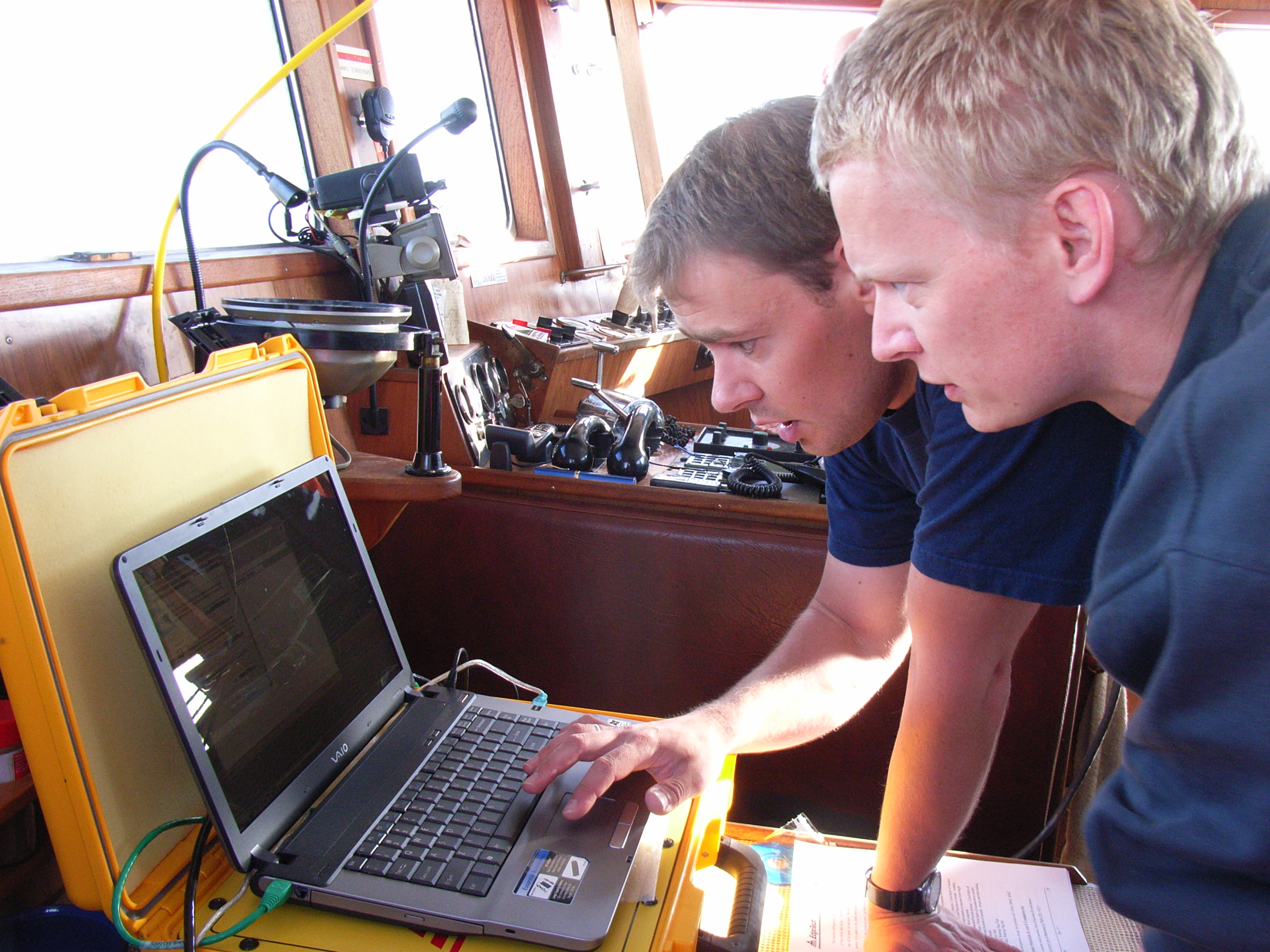 Sidescan sonar capture on board the trawler Ho Bugt